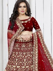 Velvet Red Trendy Designer Lehenga Choli