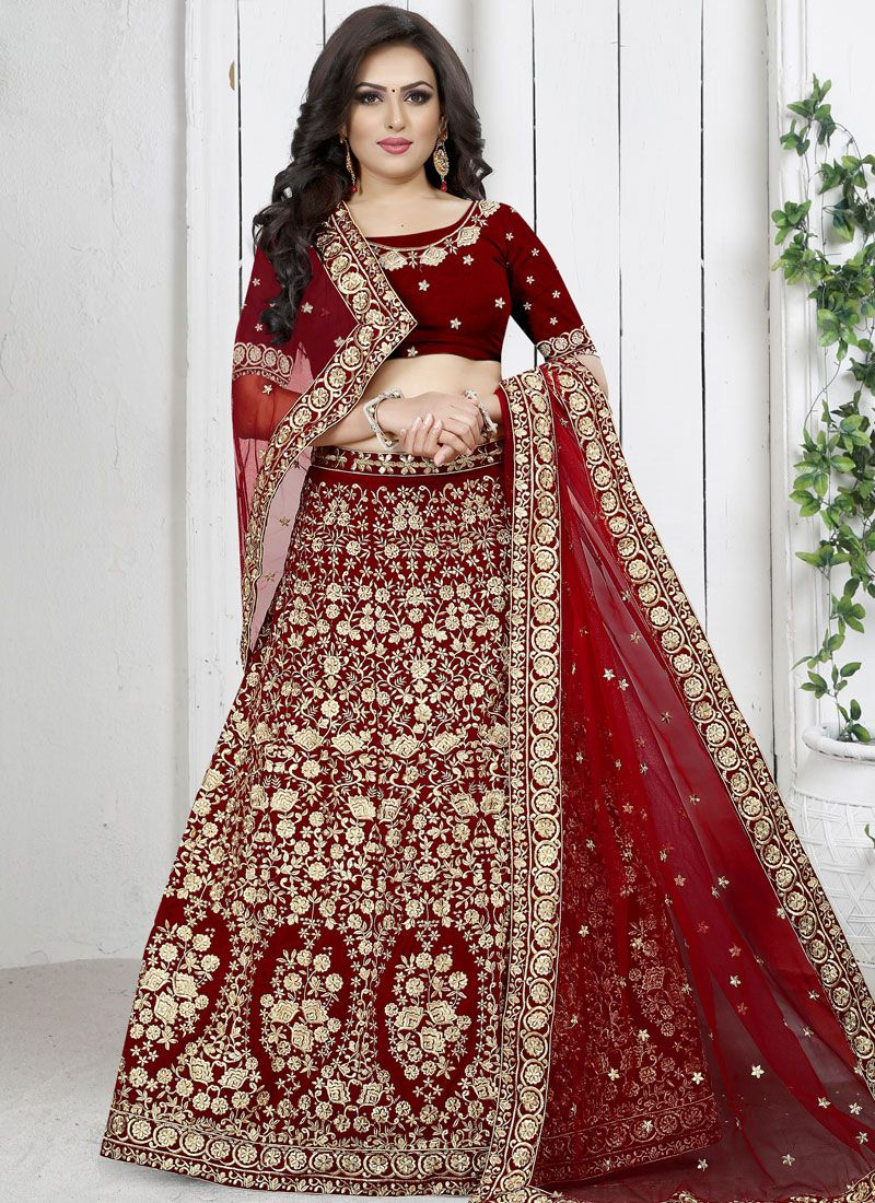 Velvet Red Trendy Designer Lehenga Choli