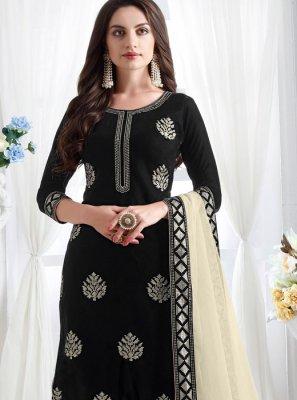 Velvet Resham Black Churidar Designer Suit