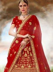 Velvet Resham Red Lehenga Choli