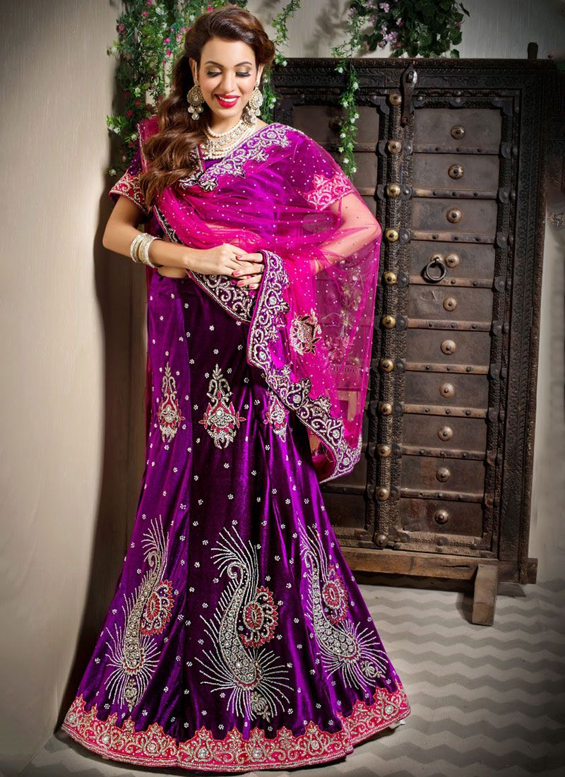 Velvet Resham Trendy Lehenga Choli in Purple