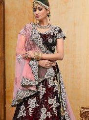 Velvet Trendy A Line Lehenga Choli in Maroon