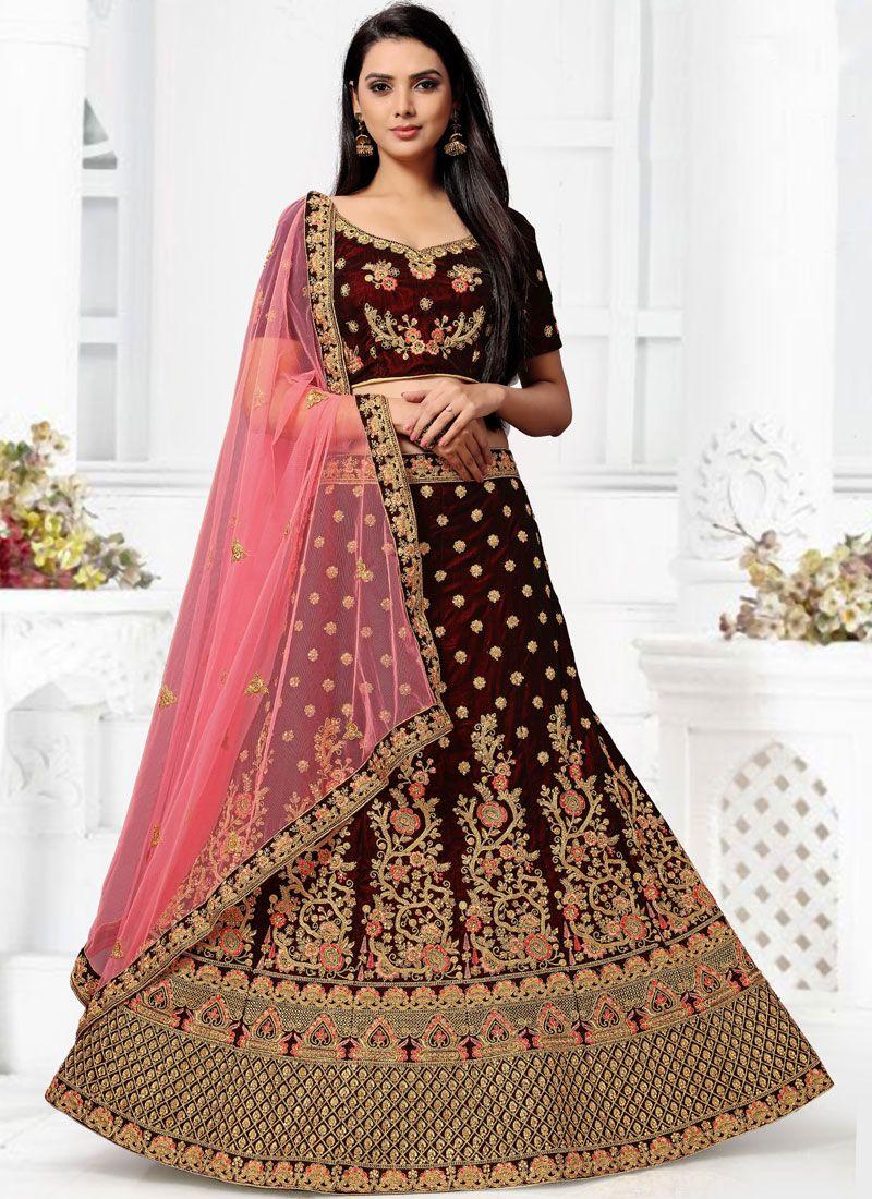 Velvet Wedding Lehenga Choli