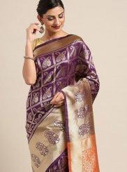 Violet Art Silk Traditional Saree