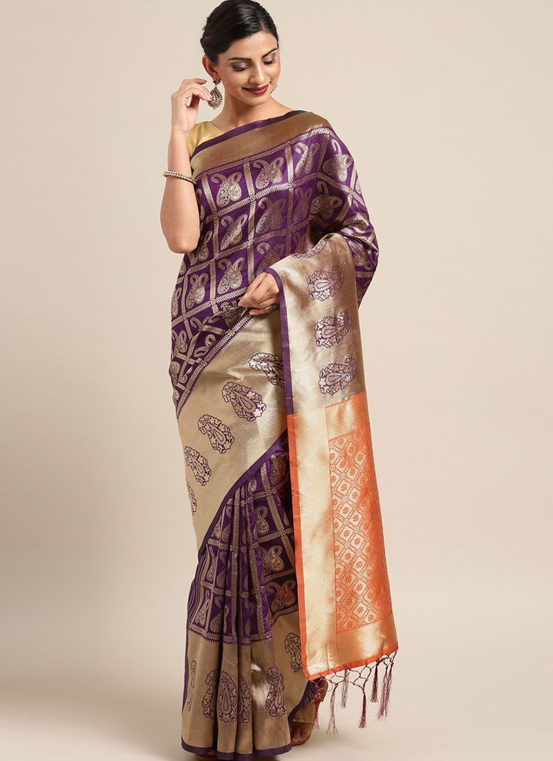 Violet Art Silk Traditional Saree