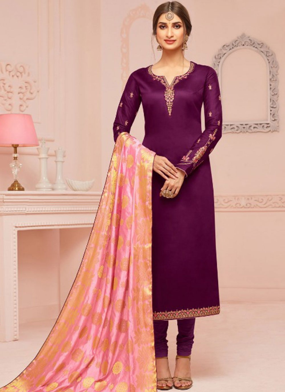 Violet Ceremonial Churidar Salwar Suit