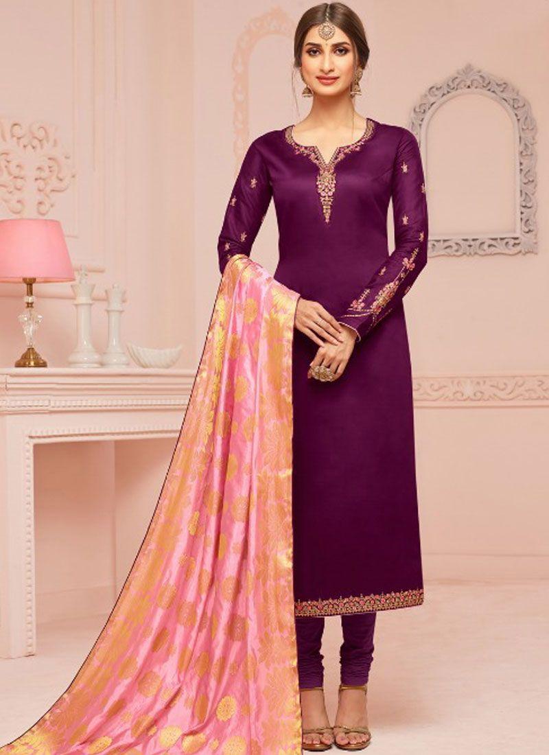 Violet Ceremonial Churidar Salwar Suit