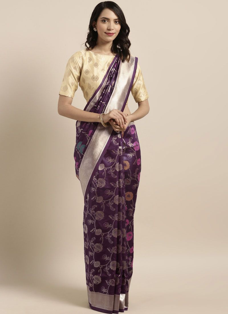 Violet Weaving Art Silk Casual Saree