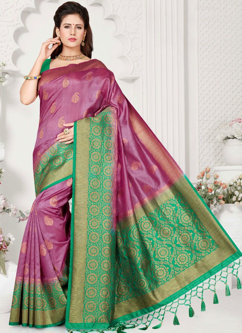 Violet Weaving Traditional Designer Saree