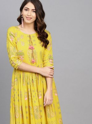 Viscose Casual Kurti in Yellow