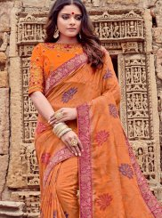 Viscose Classic Saree in Orange