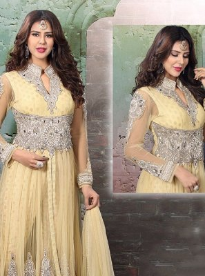 Viscose Cream Anarkali Salwar Suit
