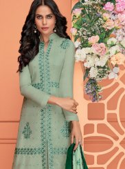 Viscose Embroidered Green Readymade Suit