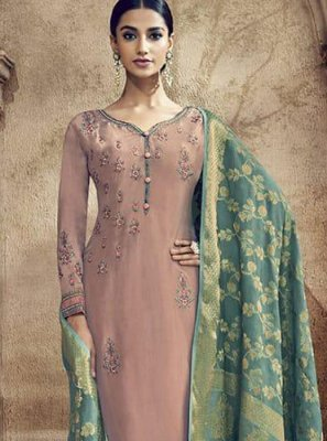 Viscose Embroidered Mauve  Designer Palazzo Suit