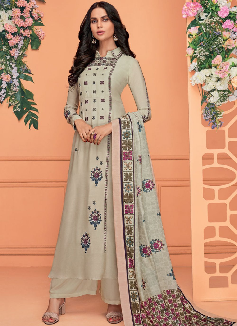 Viscose Embroidered Readymade Suit in Grey