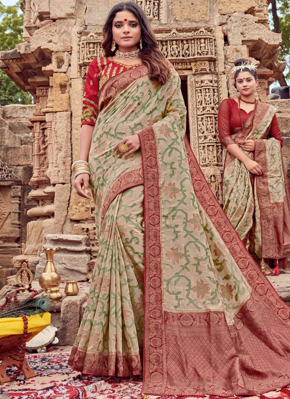 Viscose Embroidered Traditional Saree in Beige