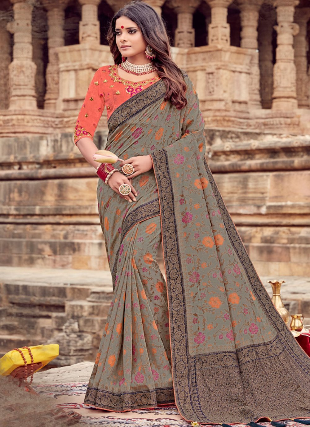 Viscose Embroidered Trendy Saree in Grey