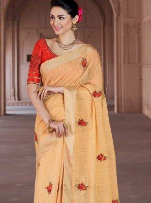 Viscose Embroidered Yellow Classic Designer Saree