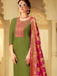 Viscose Green Embroidered Designer Salwar Suit