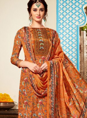 Viscose Pant Style Suit in Orange