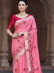 Viscose Patch Border Pink Classic Designer Saree