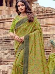 Viscose Resham Sea Green Traditional Saree