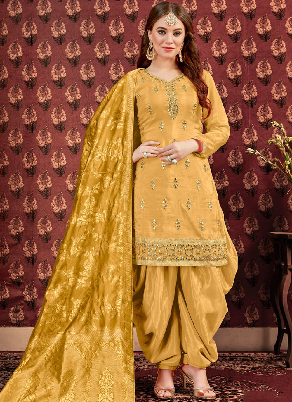 Viscose Yellow Designer Patiala Suit