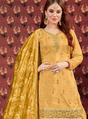 Viscose Yellow Designer Patiala Suit