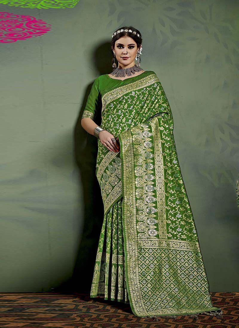 Weaving Art Banarasi Silk Designer Saree in Green