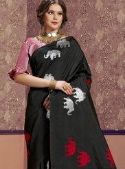 Weaving Art Silk Black Classic Designer Saree