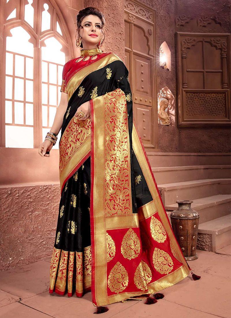 Weaving Art Silk Black Designer Traditional Saree
