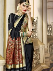 Weaving Art Silk Black Traditional Designer Saree