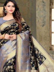 Weaving Art Silk Black Traditional Saree