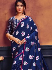 Weaving Art Silk Blue Designer Traditional Saree