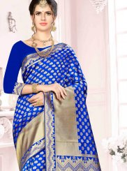 Weaving Art Silk Blue Designer Traditional Saree
