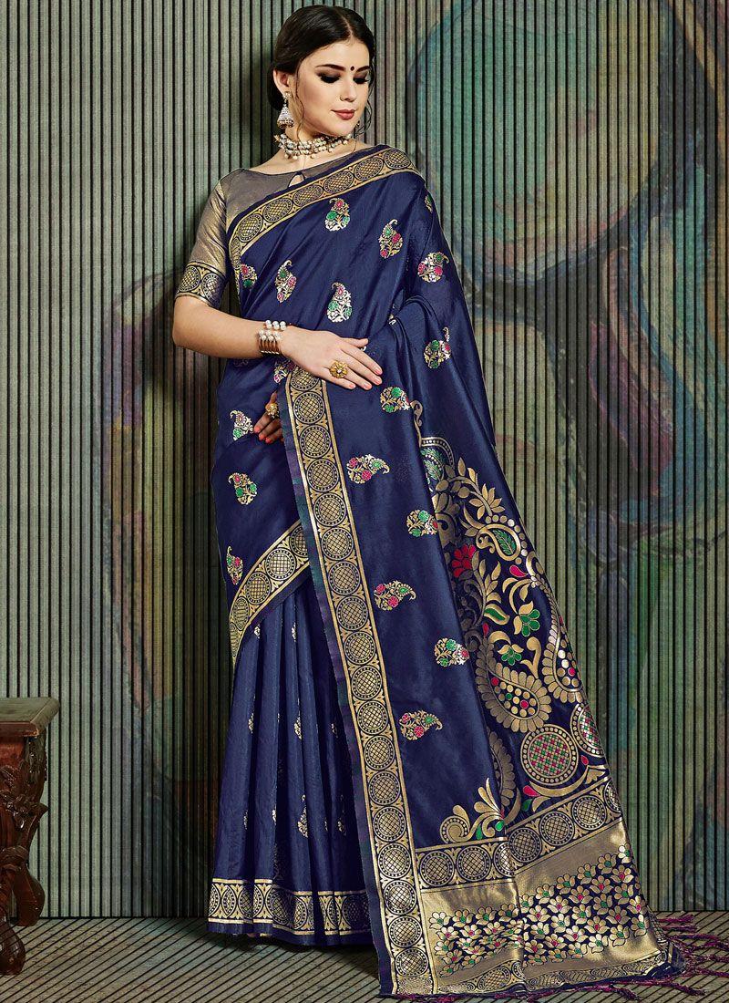 Weaving Art Silk Blue Traditional Designer Saree
