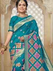 Weaving Art Silk Blue Traditional Designer Saree