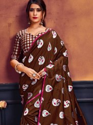 Weaving Art Silk Brown Designer Traditional Saree