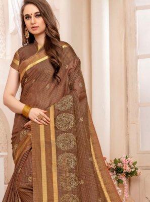 Weaving Art Silk Brown Traditional Designer Saree