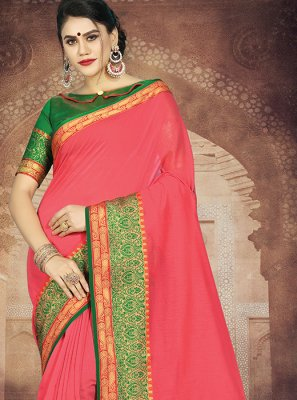 Weaving Art Silk Casual Saree in Rose Pink