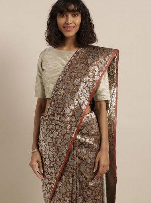 Weaving Art Silk Classic Saree in Brown