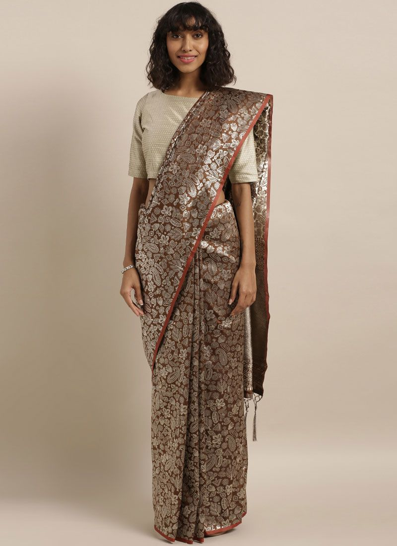 Weaving Art Silk Classic Saree in Brown
