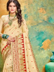 Weaving Art Silk Cream and Red Designer Traditional Saree