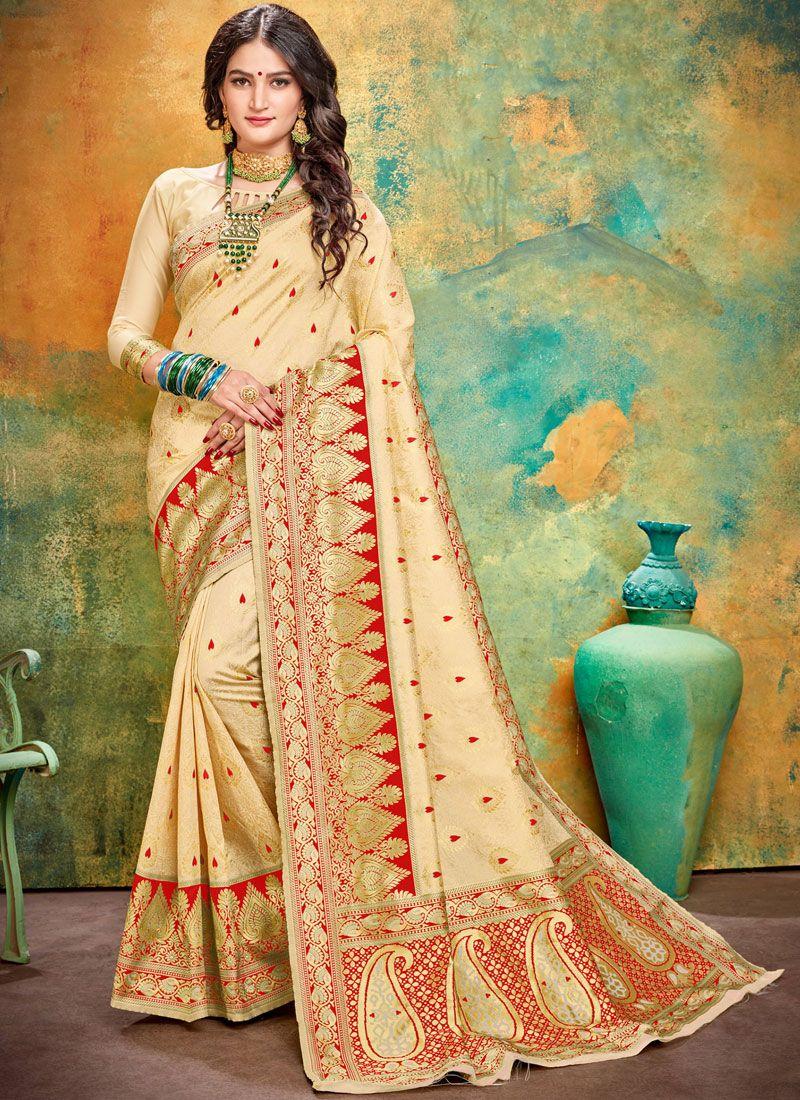 Weaving Art Silk Cream and Red Designer Traditional Saree