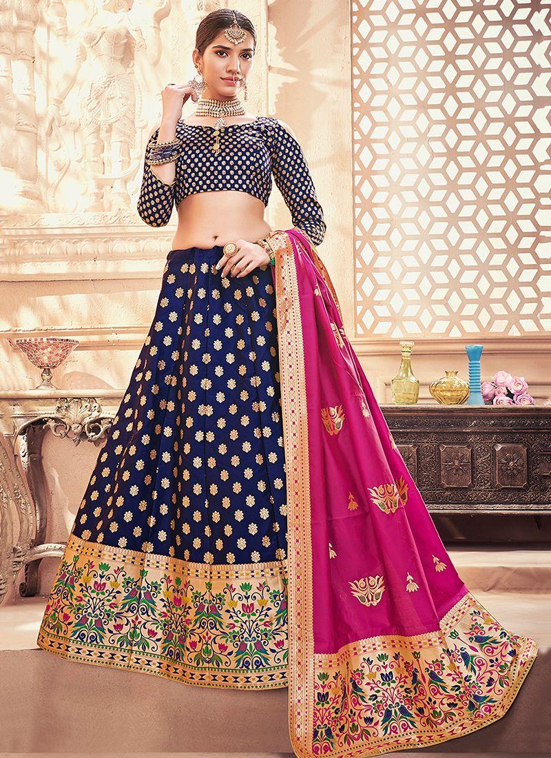 Weaving Art Silk Designer Lehenga Choli in Navy Blue