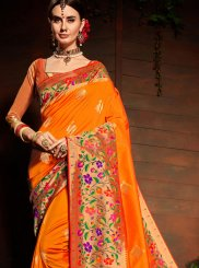 Weaving Art Silk Designer Saree in Orange