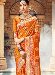 Weaving Art Silk Designer Saree in Orange
