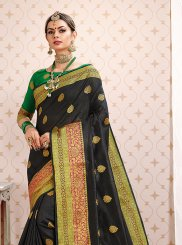 Weaving Art Silk Designer Traditional Saree in Black