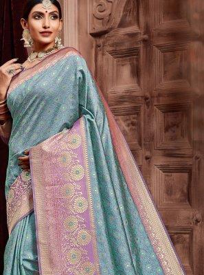 Weaving Art Silk Designer Traditional Saree in Blue
