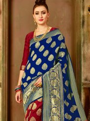 Weaving Art Silk Designer Traditional Saree in Blue and Maroon